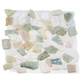 мозаика  MS-WB3 МРАМОР бело-зелёный квадратный