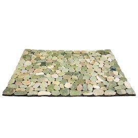 мозаичный ковер НАТУРАЛЬНАЯ ГАЛЬКА НА РЕЗИНЕ MS7013 зелёно-белая