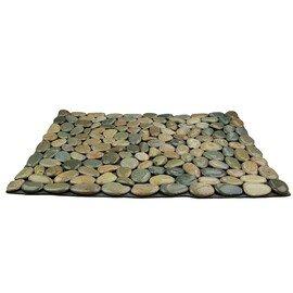 мозаичный ковер НАТУРАЛЬНАЯ ГАЛЬКА НА РЕЗИНЕ MS8005 зелёно-серая